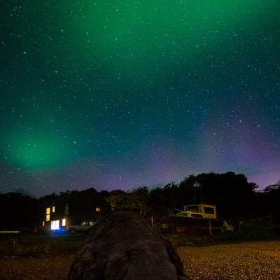 The Northern Lights in the sky above Rockpool House, Resipole, Sunart